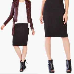 NWT BCBG Black Lyric Faux Suede Pencil Skirt